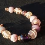 Braccialetto lampwork viola rosa bronzo 4