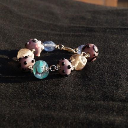 braccialetto lampwork rosa violetto 1