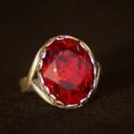 Anello swarovski ovale rosso 2