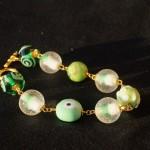Braccialetto lampwork verde oro 1