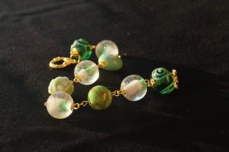 Braccialetto lampwork verde oro 3