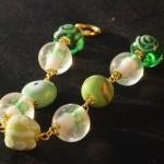 Braccialetto lampwork verde oro 4