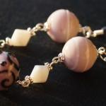 Orecchini argento lampwork rosa viola 1