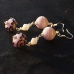 Orecchini argento lampwork rosa viola 2