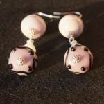 Orecchini argento lampwork rosa viola 3
