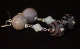 Orecchini argento lampwork rosa viola 5
