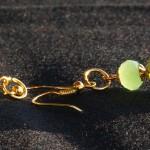 Orecchini lampwork verdi oro 1