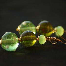 Orecchini lampwork verdi oro 4