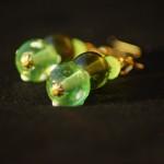 Orecchini lampwork verdi oro 5