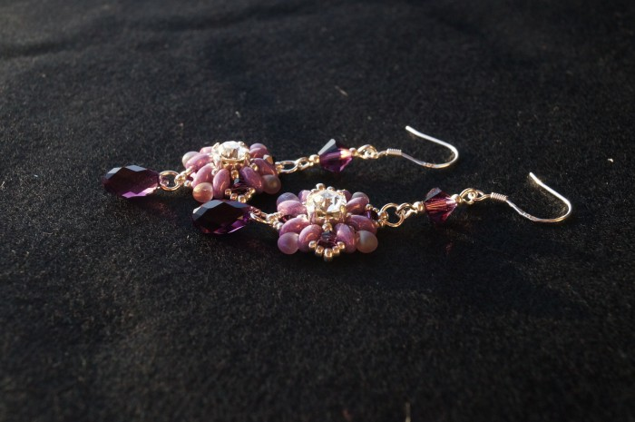 Orecchini pendenti argento swarovski viola 2