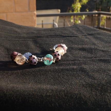 braccialetto lampwork rosa violetto 2