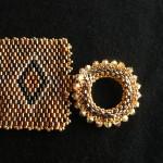Braccialetto peyote bronzo e oro 3