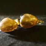 Orecchini cuore marrone oro 1