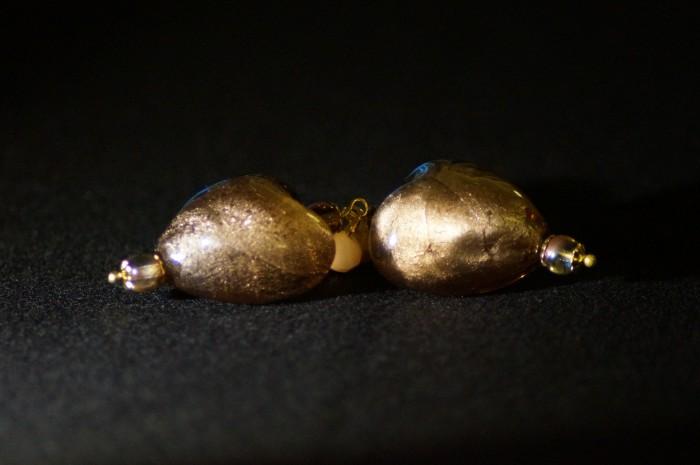 Orecchini cuore marrone oro 2